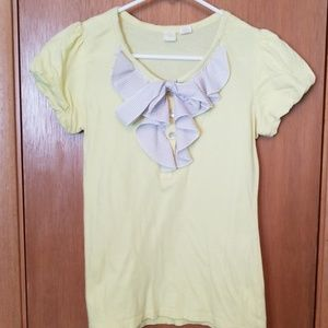 Anthropologie Yellow Bow Front Tee Shirt sz sm
